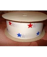 RIBBON ROLL STIFF 100% POLYESTER 30 YDS RED WHITE & BLUE STARS PATRIOTIC... - $9.99