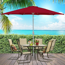 Patio Umbrella 9' Aluminum Patio Market Umbrella Tilt W/ Crank Outdoor - $67.99