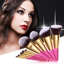 Pro Travel Size Makeup Brushes & Tools‎ Pink Gold Cosmetic Brush Set Col... - ₨5,005.28 INR