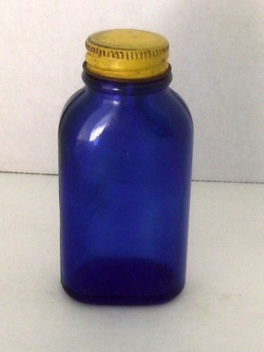Cobalt Phillips Blue Bottle Tablets Milk Magnesia Yellow Lid Cap Vintage Collect