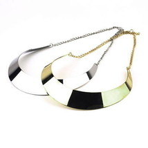 NEW!! High Fashion Collar Bib Statement Wide Choker Bar Necklace in Gold, Silver - £6.97 GBP