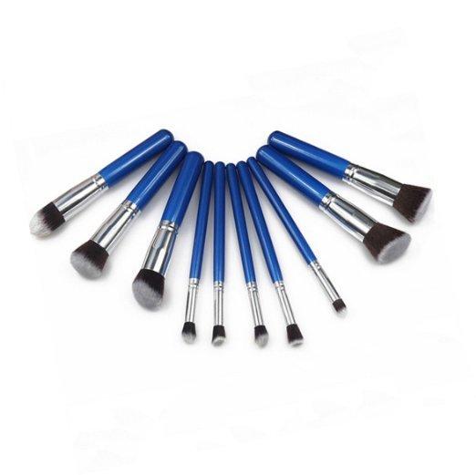 Premium 10-Piece Brushes Sapphire Blue Cosmetic Makeup Brush Set - $68.00