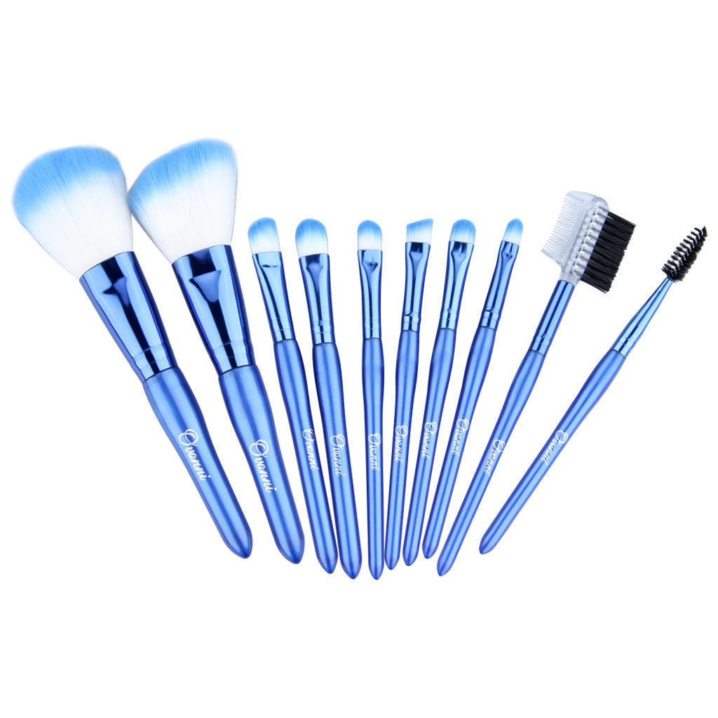 Ovonni 10-Piece Blue Travel Cosmetic Makeup Brush Set With Case - $79.00