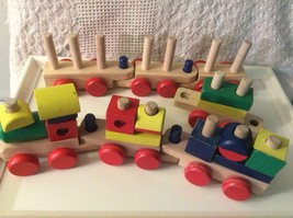 Melissa & Doug Stacking Wood Train with 7 Cars & 17 Building Blocks Solid Wood - $9.85