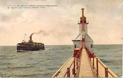 Primary image for The Lighthouse Benton Harbor Michigan Vintage Post Card