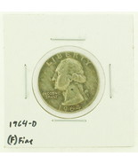 1964-D United States Washington Quarters Dollar 90% Silver RATING: (F) F... - ₨188.52 INR