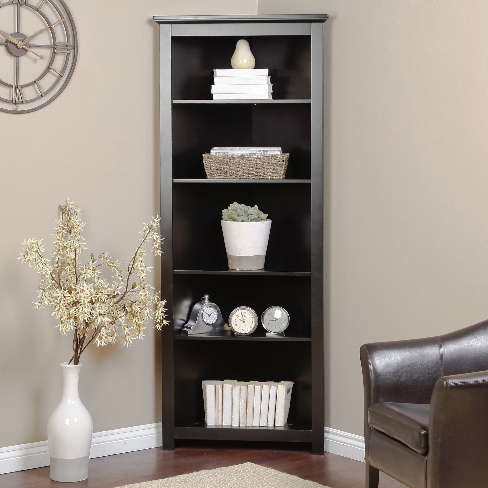 Black corner bookcase contemporary cabinet hutch bookshelf for Modern corner bookshelf