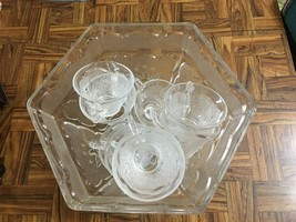 Hazel Atlas Glass Federal AMERICANA Eagle & Stars Punch Bowl & 10 Cups 1950s - $38.60