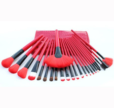 Professional 24-Piece Royal Red Cosmetic Makeup Artist Full Size Brush Set - $120.00