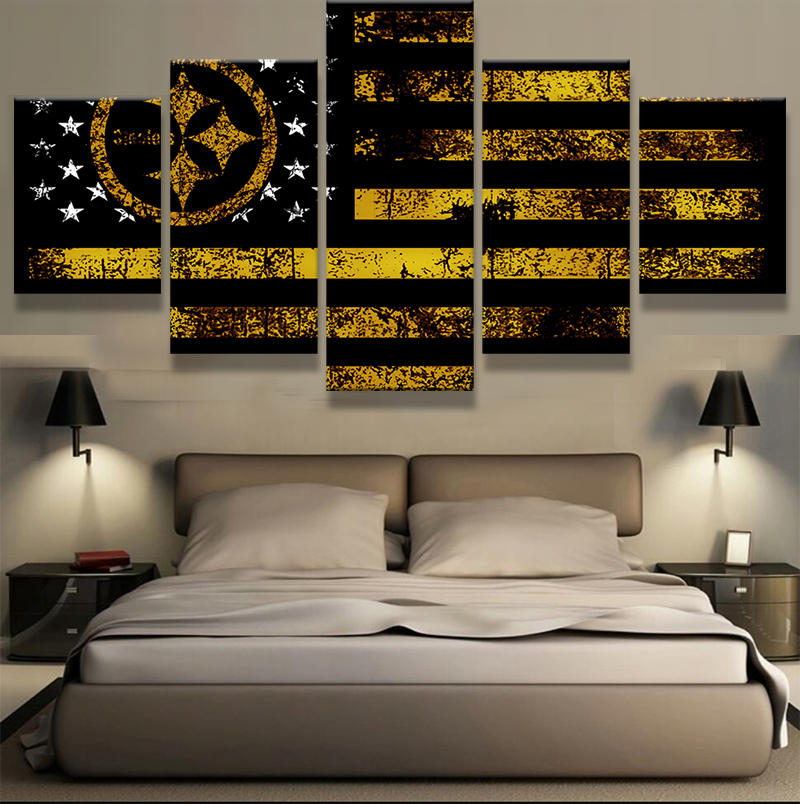 Home Decor Pittsburgh: Pittsburgh Steeler Flag Sport 5 Piece Canvas Art Wall Art