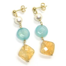 18K YELLOW GOLD PENDANT EARRINGS, PEARL, BLUE JADE AND CITRINE, 1.77 INCHES image 1