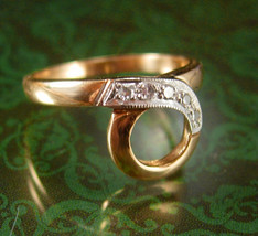 5 Diamond Engagement ring Vintage 14kt GOLD modernist eternity loop Genu... - $295.00