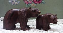 Vintage Hand Carved Wood Grizzly Bear & Cub Figurines // Folk Art // Hom... - $14.00