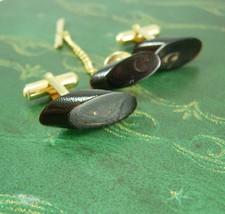 Hawaiian Black Coral Cufflinks & Tie Tack with chain Vintage  Tourist Tr... - $135.00