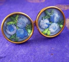 Gorgeous flower under glass Cufflinks blue embroidery wedding cuff links florist - $110.00