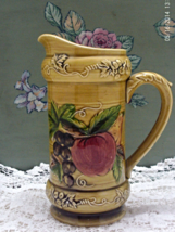 Vintage Lefton China Hand Painted Fruit Design Tall Decorative Pitcher/Vase - $12.25