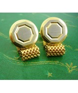 Vintage wedding  gold silver cufflinks mesh wrap engravable personalized... - $75.00