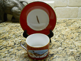 Lynn Chase Winter Game Birds Red JAPAN Cup and Saucer set FREE SHIPPING - $69.29