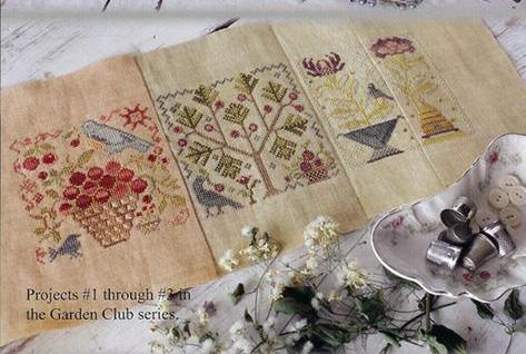 Butterfly garden 5 garden club series cross stitch chart for Garden club book by blackbird designs