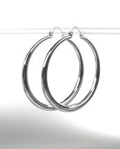 "CLASSIC Graduated SILVER Metal 1 1/8"" Round Hoop Pincatch Earrings - £10.04 GBP"