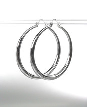 "CLASSIC Graduated SILVER Metal 1 3/4"" Round Hoop Pincatch Earrings - $14.99"