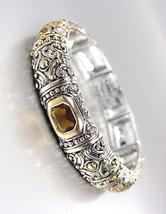 GORGEOUS Designer BALINESE Silver Gold Smoky Brown Topaz CZ Crystals Bra... - $29.99