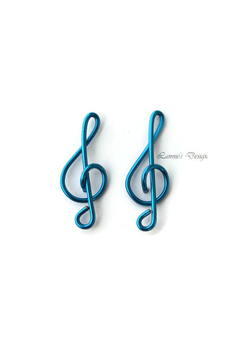 Blue Treble Clef Stud Earrings, Gift for Bridesmaids, Friend and Music Lover