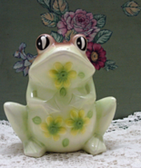 Vintage Large Green With Flowers Ceramic Frog Figurine // Deck/Garden Decor - $10.50