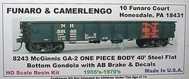Funaro & Camerlengo HO NH McGinnis GA-2 Steel 40' Gon, ONE PIECE BODY Kit 8243 image 1