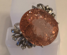 New Estate Huge 30.5 carat Morganite & 0.2 Carat diamond 14k white gold ... - $6,499.90