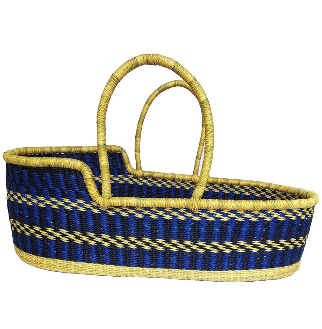 African Moses basket, Ghana Moses basket, Natural straw hand woven basket - $140.00