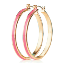 Avon Paradise Hoop Earrings Gold & Pink - $14.85