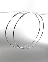 """CHIC Lightweight Silver Continuous INFINITY 4"""" Diameter Hoop Earrings 98... - $17.99"""