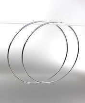 """CHIC Lightweight Silver Continuous INFINITY 3"""" Diameter Hoop Earrings 50... - $15.99"""
