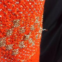 Vtg St John Knits Wiggle Groovy Hostess Sweater Dress Orange Gold Metallic M image 10