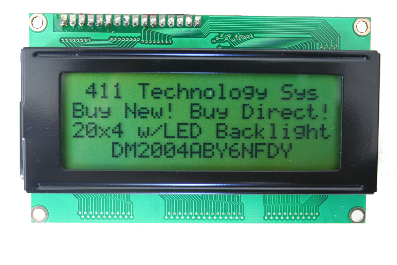 HD44780 20x4 Yellow STN LCD with LED Backlight