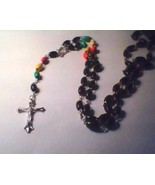 "ROSARY WITH MULTICOLOR BEADS AND 36"" CHAIN - $10.00"