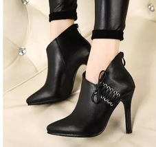 PB036 sexy Martin booties, lace up side, zipper back, size 35-40, black - $48.80