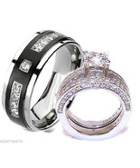 His & Hers Cz Wedding Ring Set Stainless Steel ... - $38.99