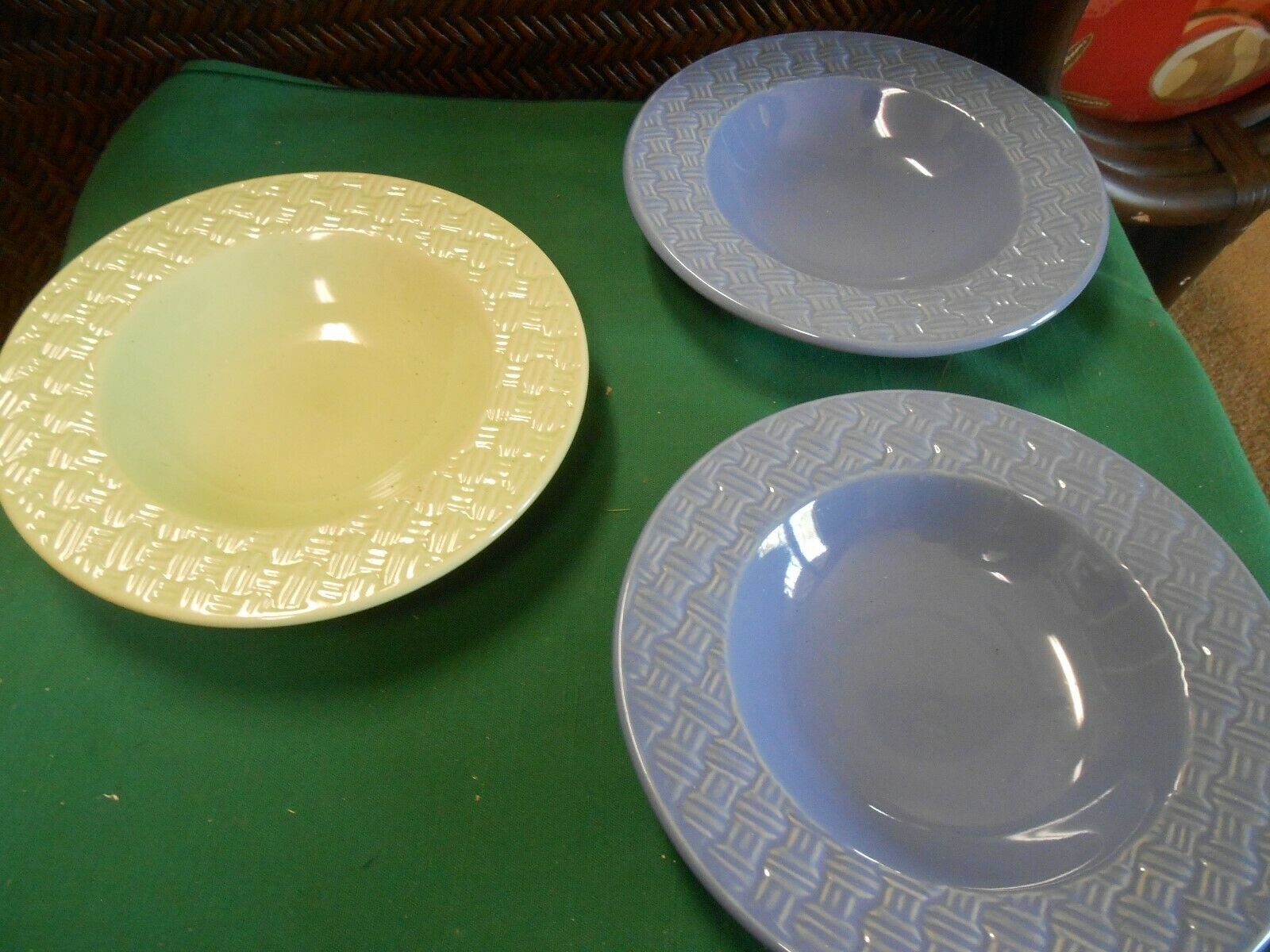"Beautiful ROYAL NORFOLK Dinnerware Set of 3 SOUP BOWLS -2 Blue 1 Yellow 8"" - $17.41"