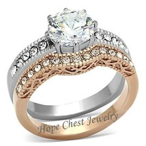 Two Tone IP Rose Gold Stainless Steel CZ Engagement & Wedding Ring Set -... - $19.34