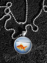 Orange Goldfish in Fish Bowl Animal Pendant Necklace - $14.00+