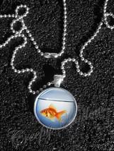 Orange Goldfish in Fish Bowl Animal Pendant Necklace - $14.00+