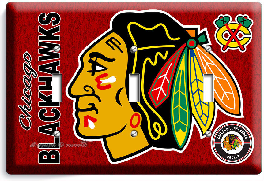 Primary image for CHICAGO BLACKHAWKS HOCKEY TRIPLE LIGHT SWITCH WALL PLATE GAME BOYS ROOM MAN CAVE