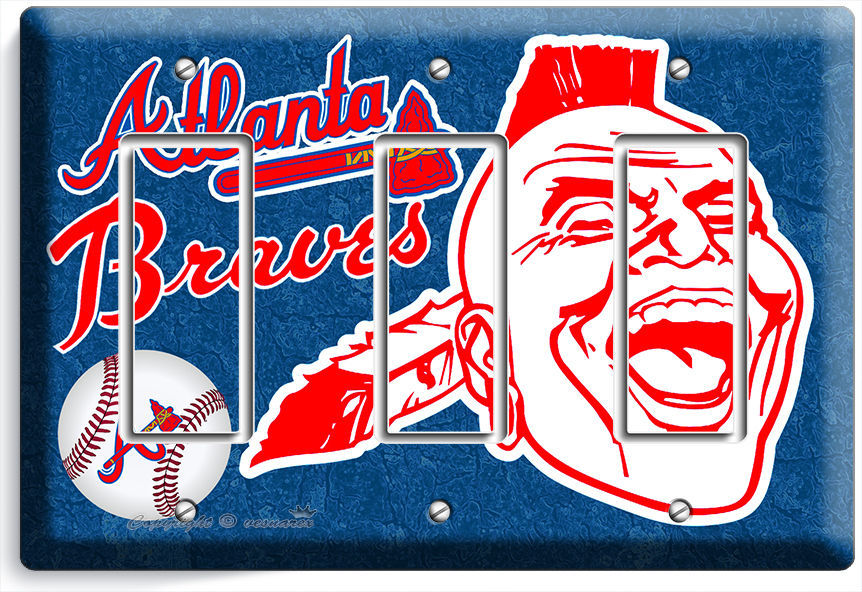 Primary image for ATLANTA BRAVES MLB BASEBALL TRIPLE GFCI LIGHT SWITCH PLATE GAME BOYS ROOM GARAGE