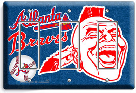 ATLANTA BRAVES MLB BASEBALL TRIPLE GFCI LIGHT SWITCH PLATE GAME BOYS ROO... - $16.19