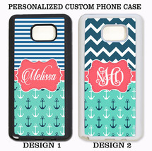 NAVY STRIPE CHEVRON NAUTICAL ANCHOR MONOGRAM Case For Samsung Galaxy S6 ... - $11.99+