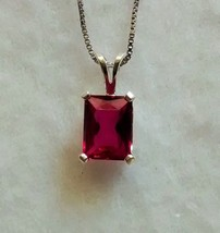 lab created ruby pendant and chain in sterling silver - $50.48