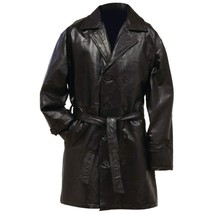 Mid Length Black Leather Trench Coat With Belt With Liner Choose Size Me... - $51.47+