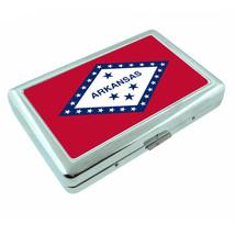 Arkansas State Flag D1 Silver Cigarette Case / Metal Wallet Card Money Holder - $8.86